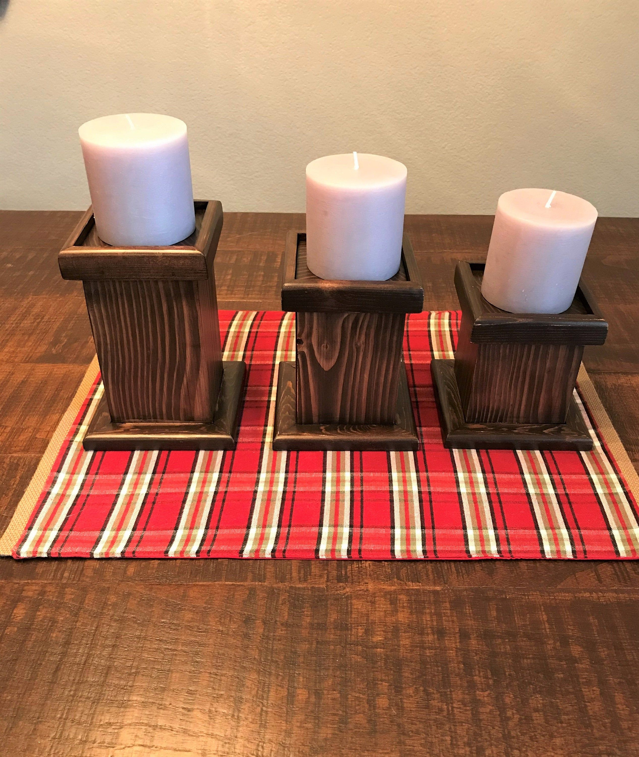 Candle stick holders chunky blocks pillars for candles