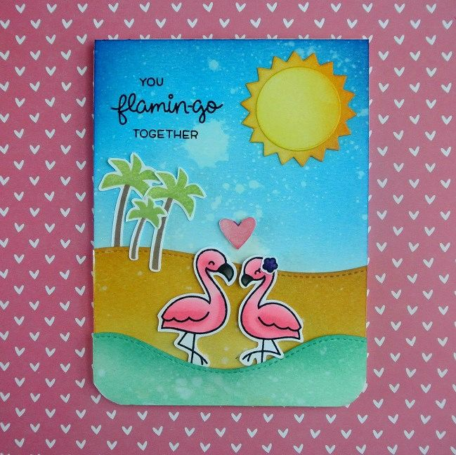 LF1173 Lawn Fawn Clear Stamps 3X4-Flamingo Together