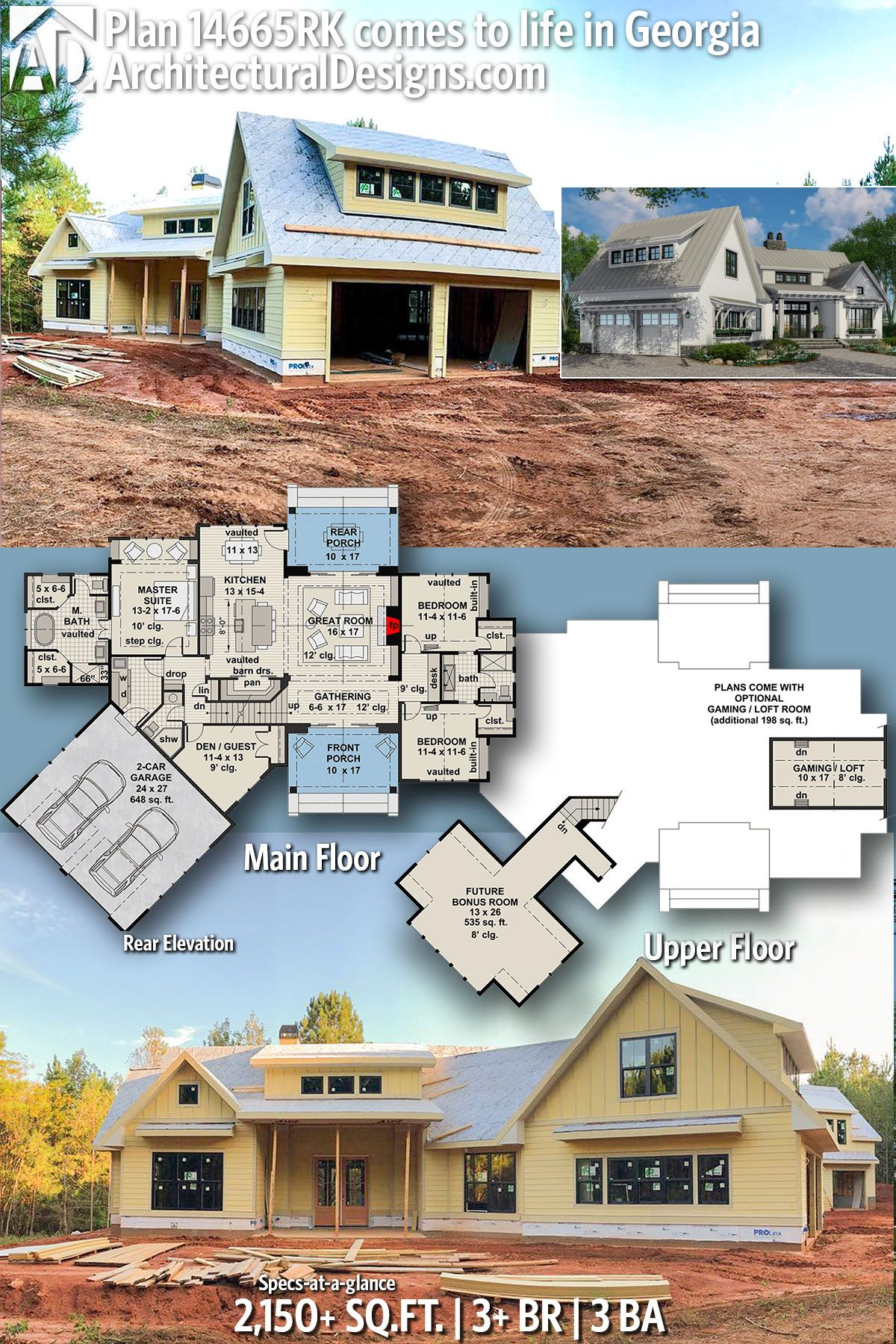 Plan 14665rk Expandable Farmhouse House Plan With Options House Plans Farmhouse Modern Farmhouse Plans Build My Own House
