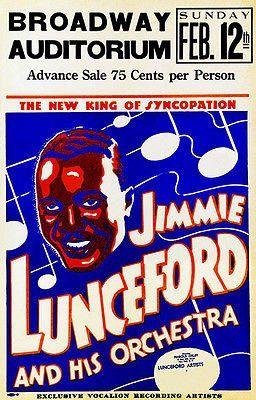 Jimmie Lunceford - 1939 - Broadway Auditorium - Concert Poster