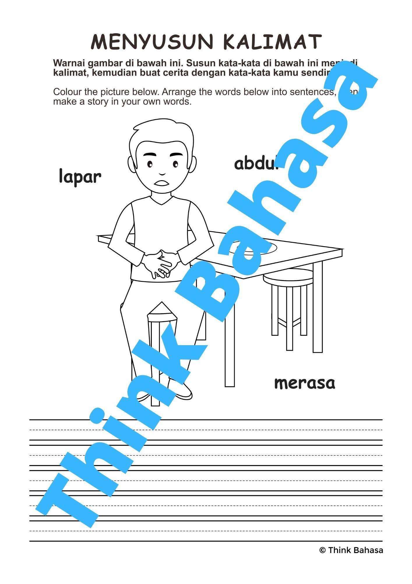 Indonesian Sight Word Sentence Building (3 words series