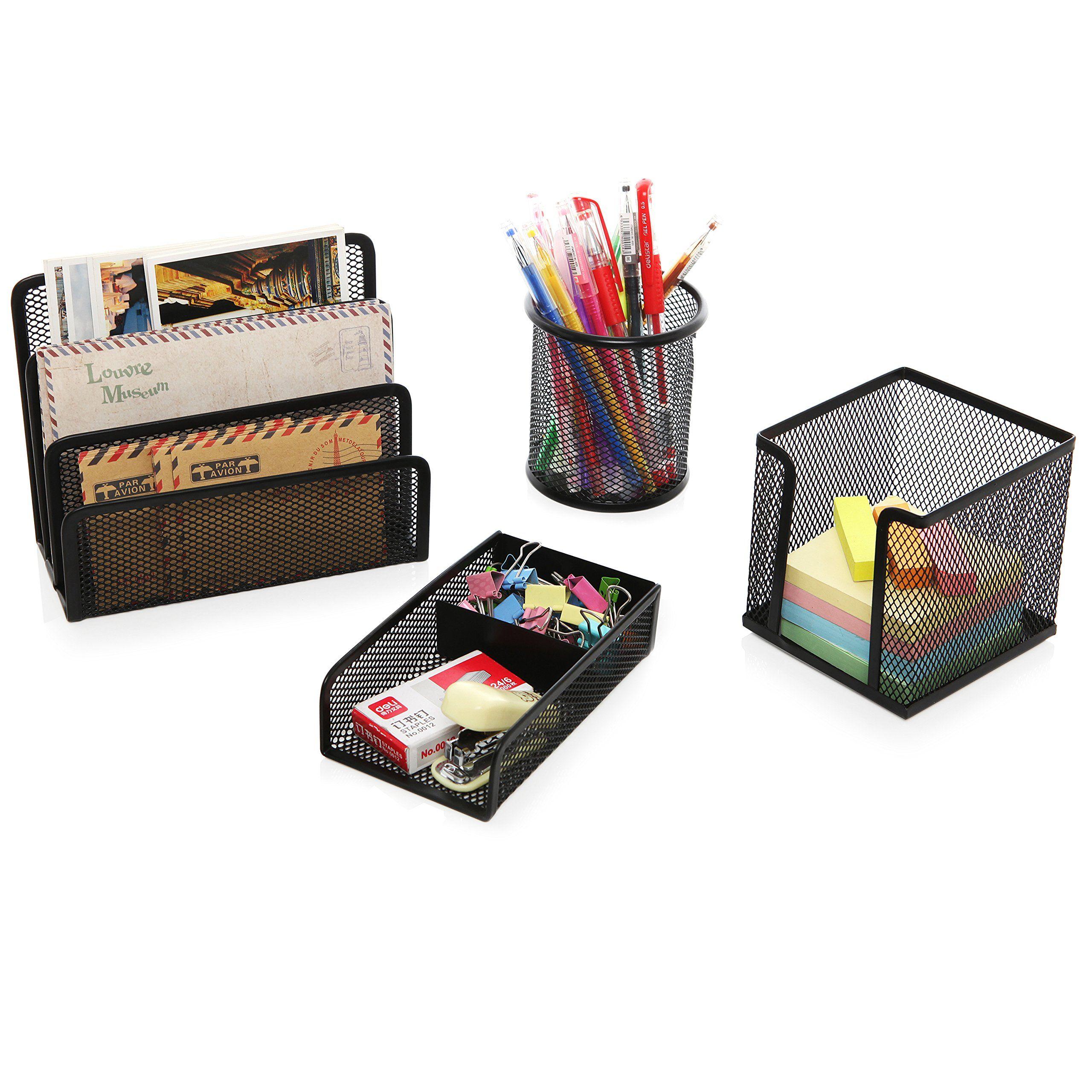 4 piece black wire mesh office desk organizer set w mail - Wire desk organizer ...