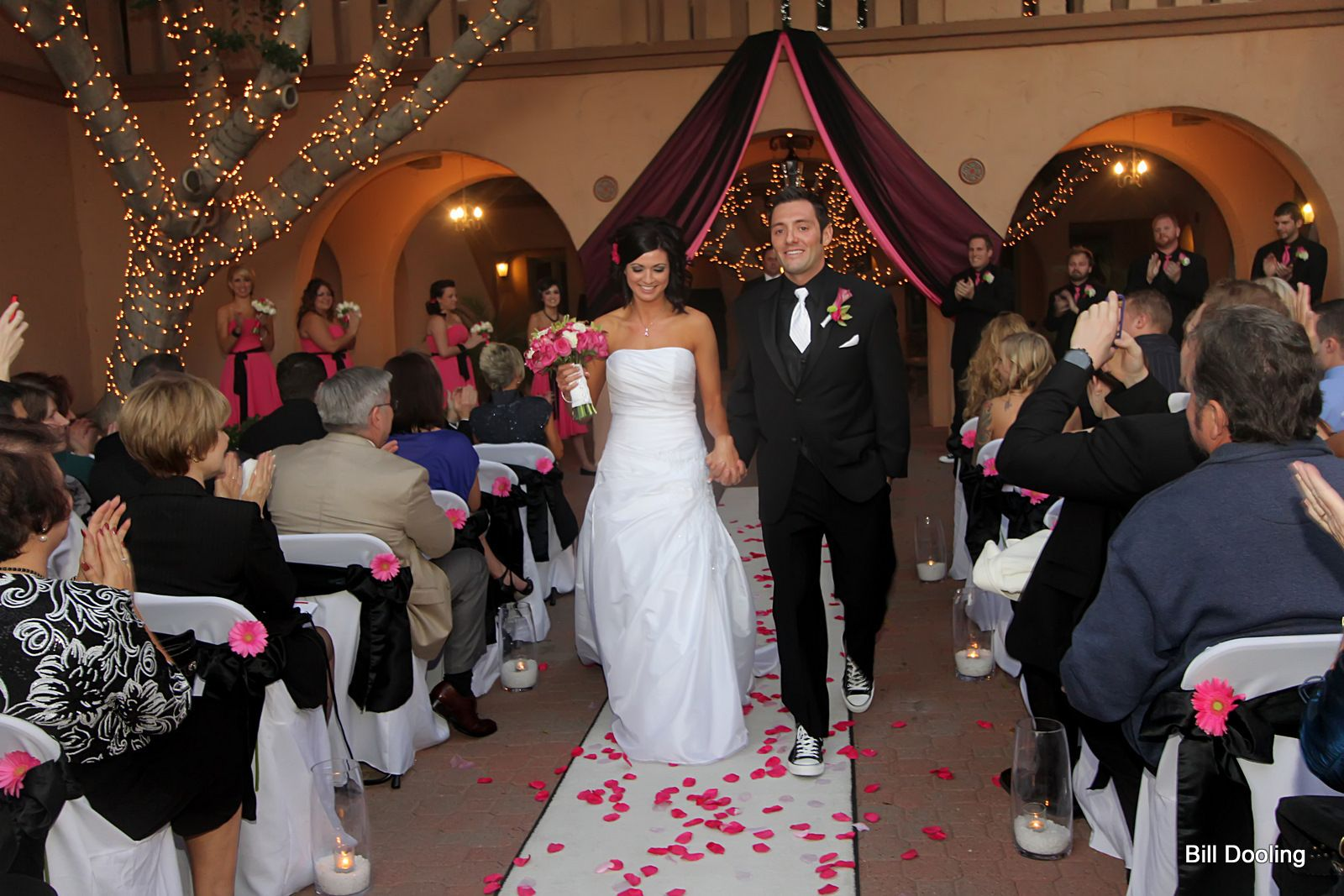 Aldea Weddings Ceremony Black And Hot Pink