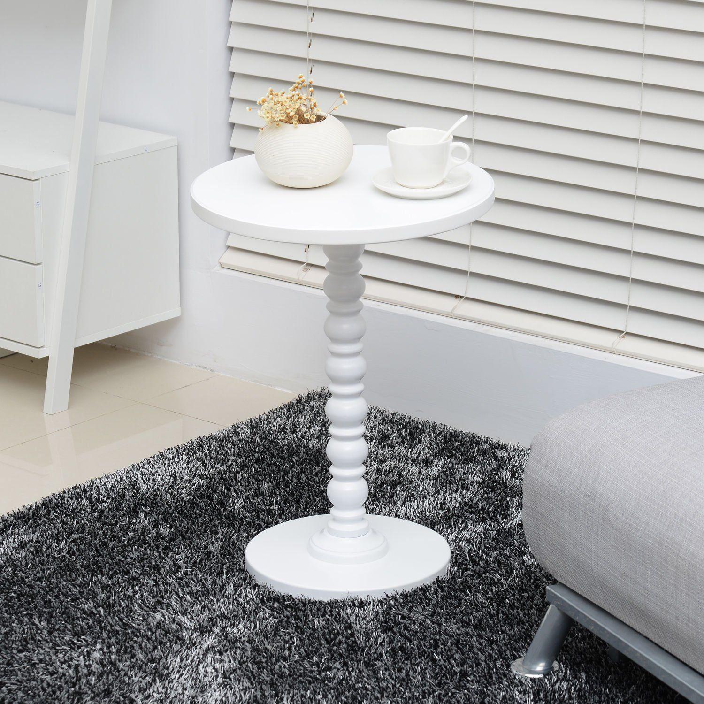 Amazon white vintage stylish side coffee table round stand desk
