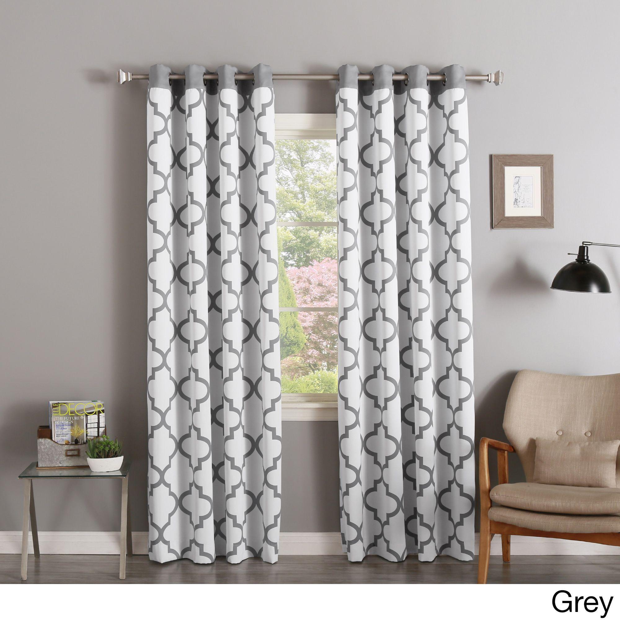 Aurora home moroccan tile print room darkening grommet top curtain