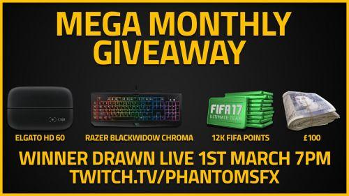 Mega Giveaway (Elgato hd60 Razer Blackwidow Chroma 100 cash