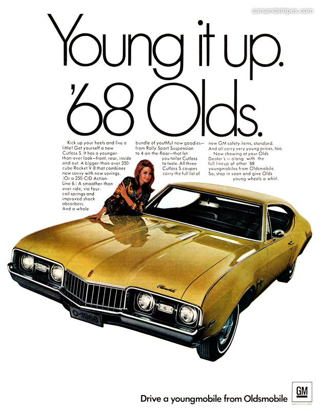1968 Oldsmobile Cutlass S Young It Up 68 Olds Original Ad
