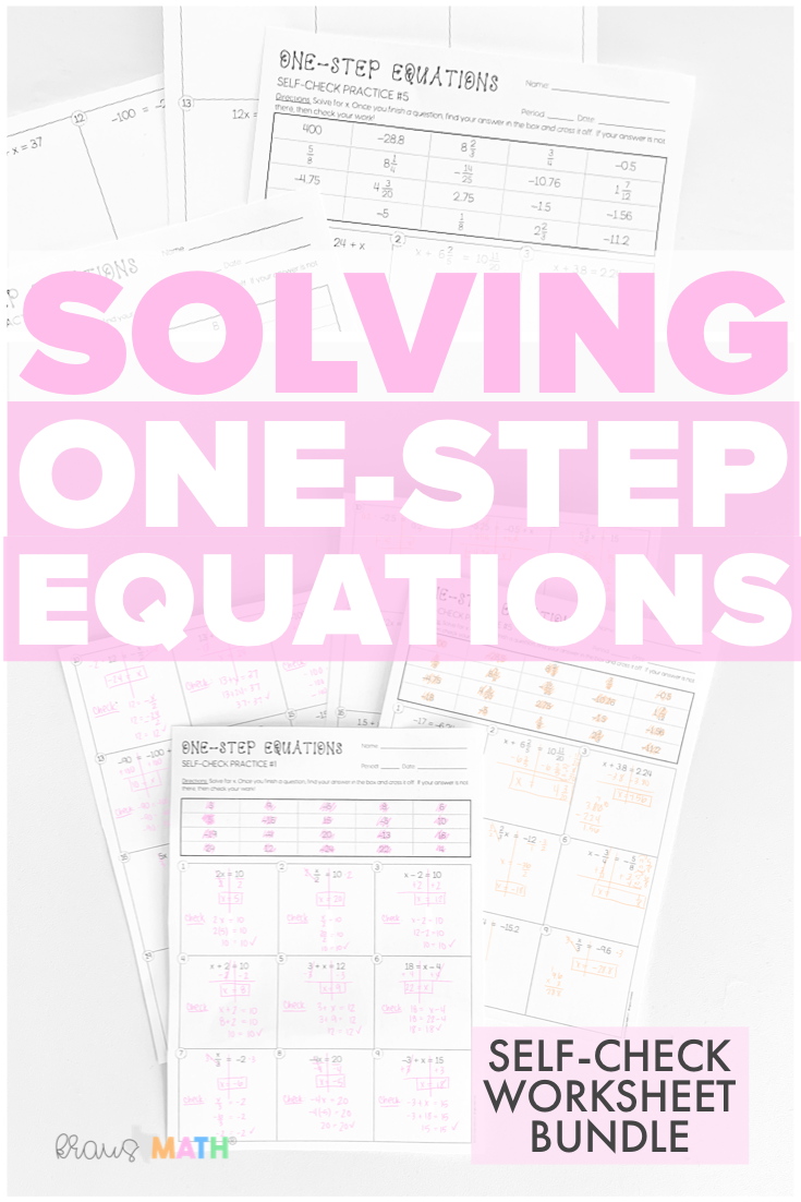 One-Step Equations SELF-CHECK Worksheet BUNDLE (6.10A)   Kraus Math   One  step equations [ 1102 x 735 Pixel ]