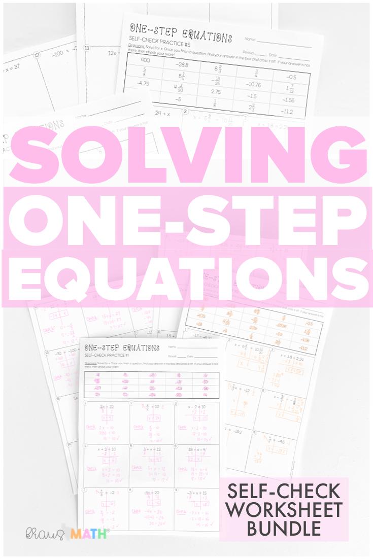 medium resolution of One-Step Equations SELF-CHECK Worksheet BUNDLE (6.10A)   Kraus Math   One  step equations