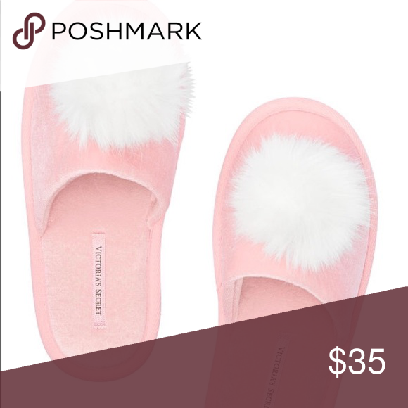 bb2a86712c03c Victoria's Secret Pom Pom Slippers Large New with tags Light pink ...