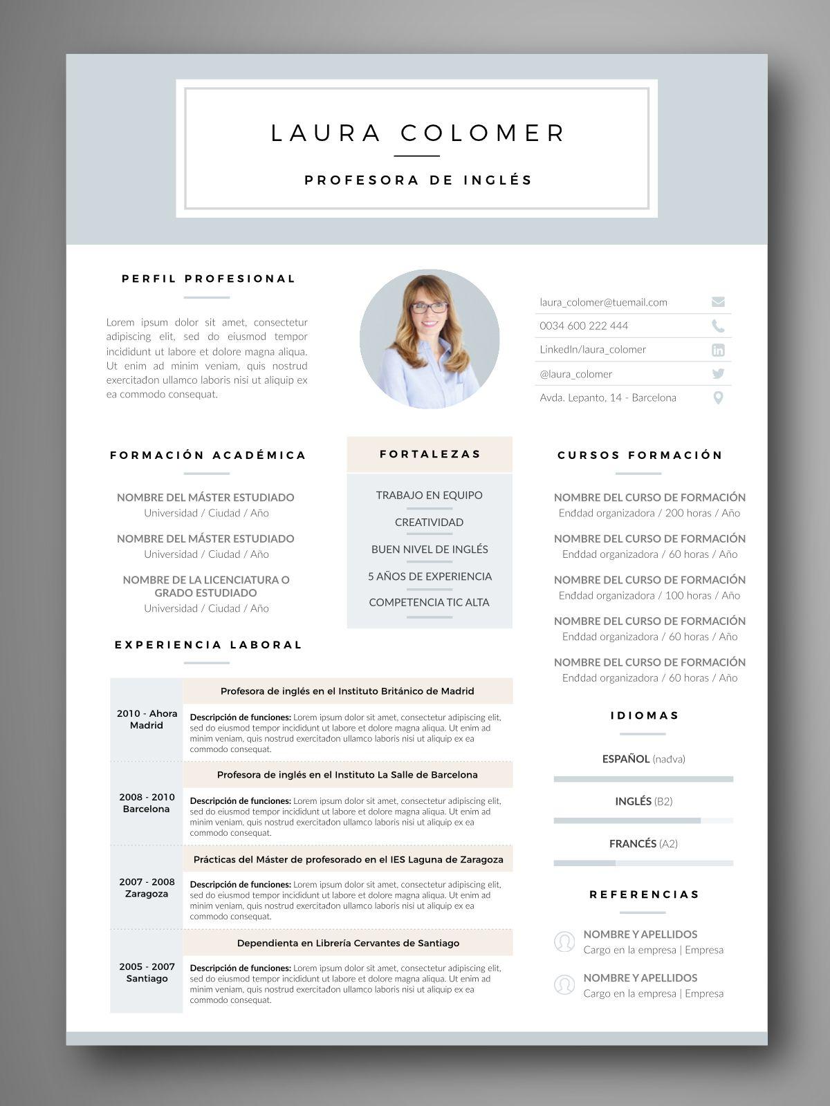 descarga plantillas editables de curriculum vitae  u2013 cv visuales y profesionales
