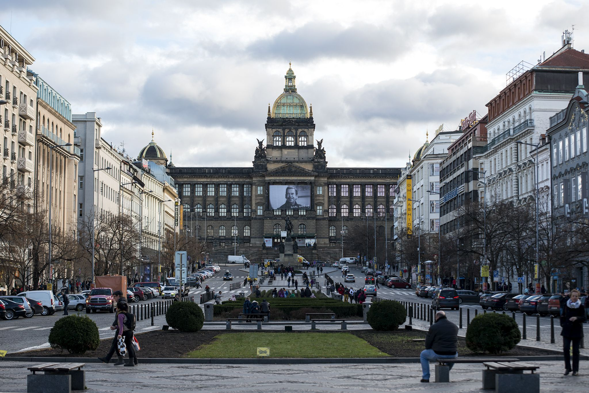 Wenceslas Square In Prague Shopping Boulevard And Meeting Place
