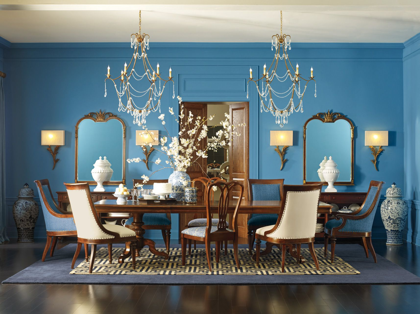 The Supper Club Featuring Fredericksburg Dining Table Ernest Hemingway Arm Side Chairs And Sloan Side Chairs Dining Thomasville Furniture Dining Room Blue