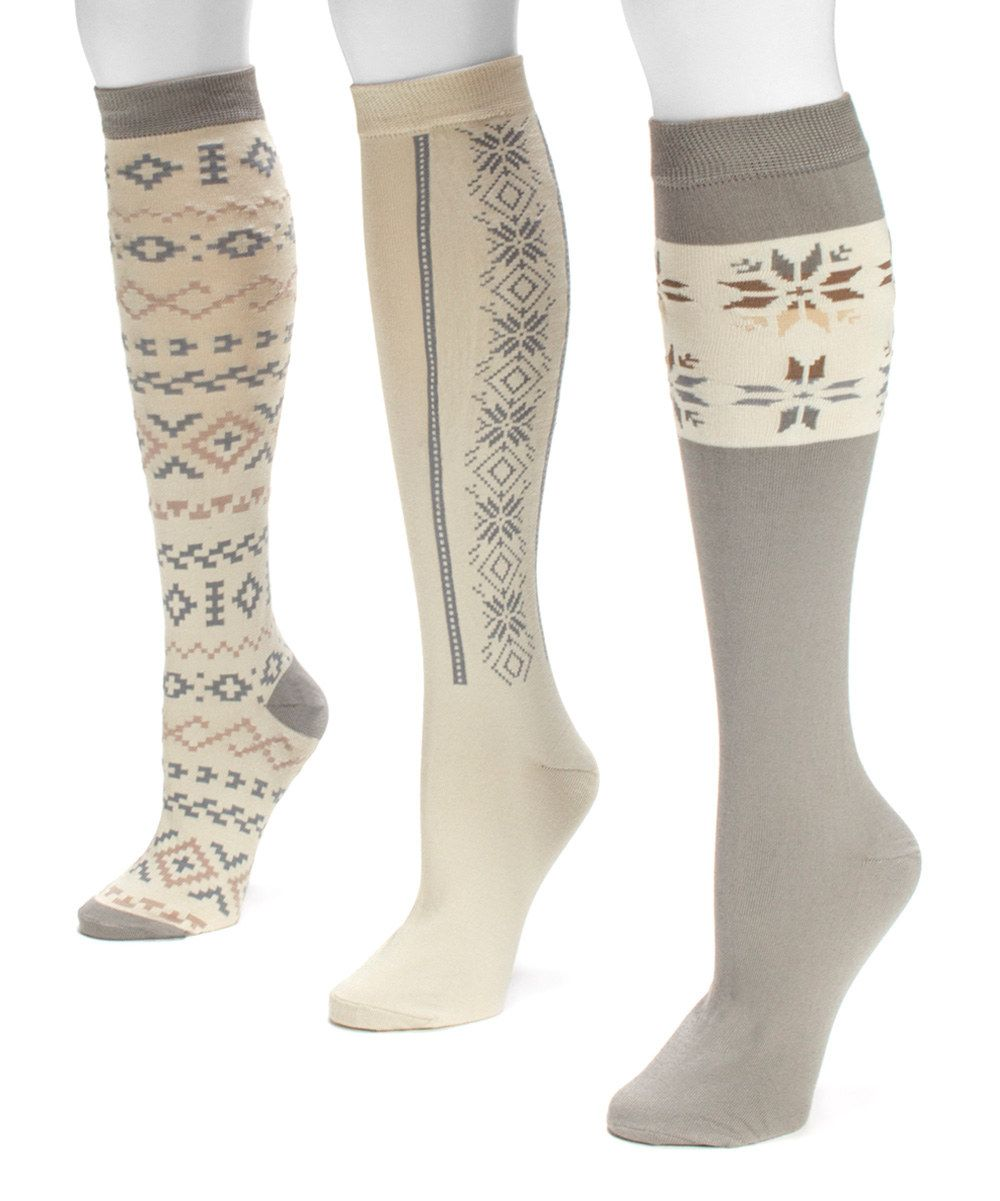 9bc519726 Look at this Winter White Three-Pair Knee-High Socks Set on  zulily today!