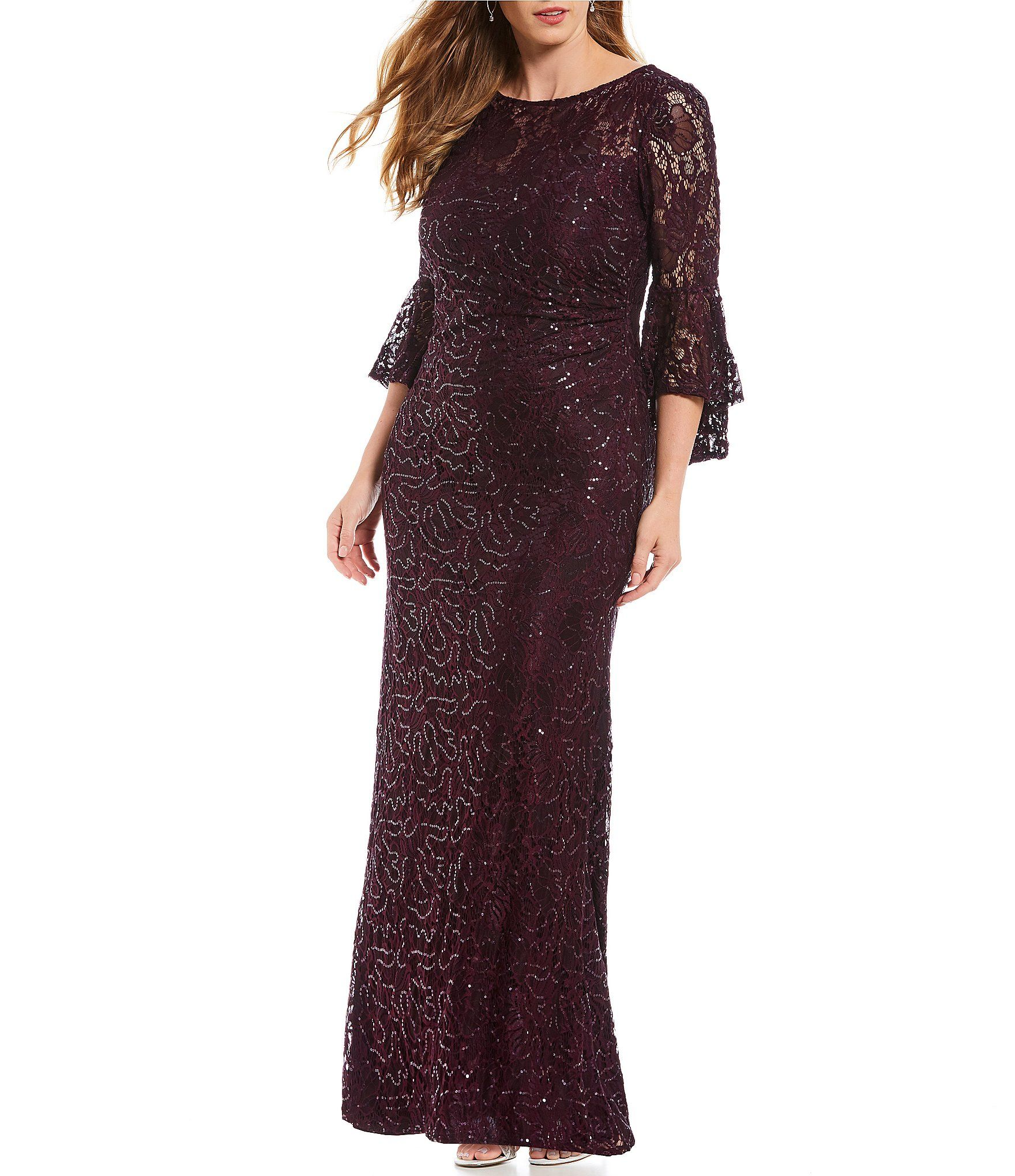 adf018350c9a1 Shop for R   M Richards Plus Size Long Sequin Lace Bell Sleeve Gown at  Dillards.com. Visit Dillards.com to find clothing