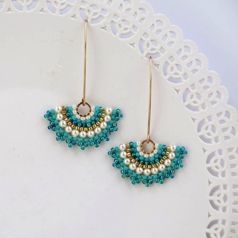 Fan Earrings Long Turquoise Earring Pearl Gold