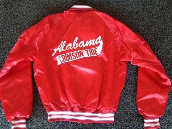 4bd70a1da49 Vintage Mens Alabama Crimson Tide University Satin Chalk Line Jacket Size S
