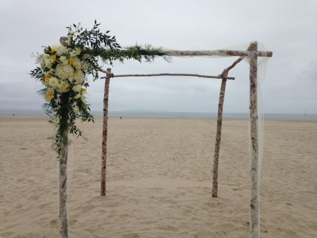 Birch Arch & Florals at Beach