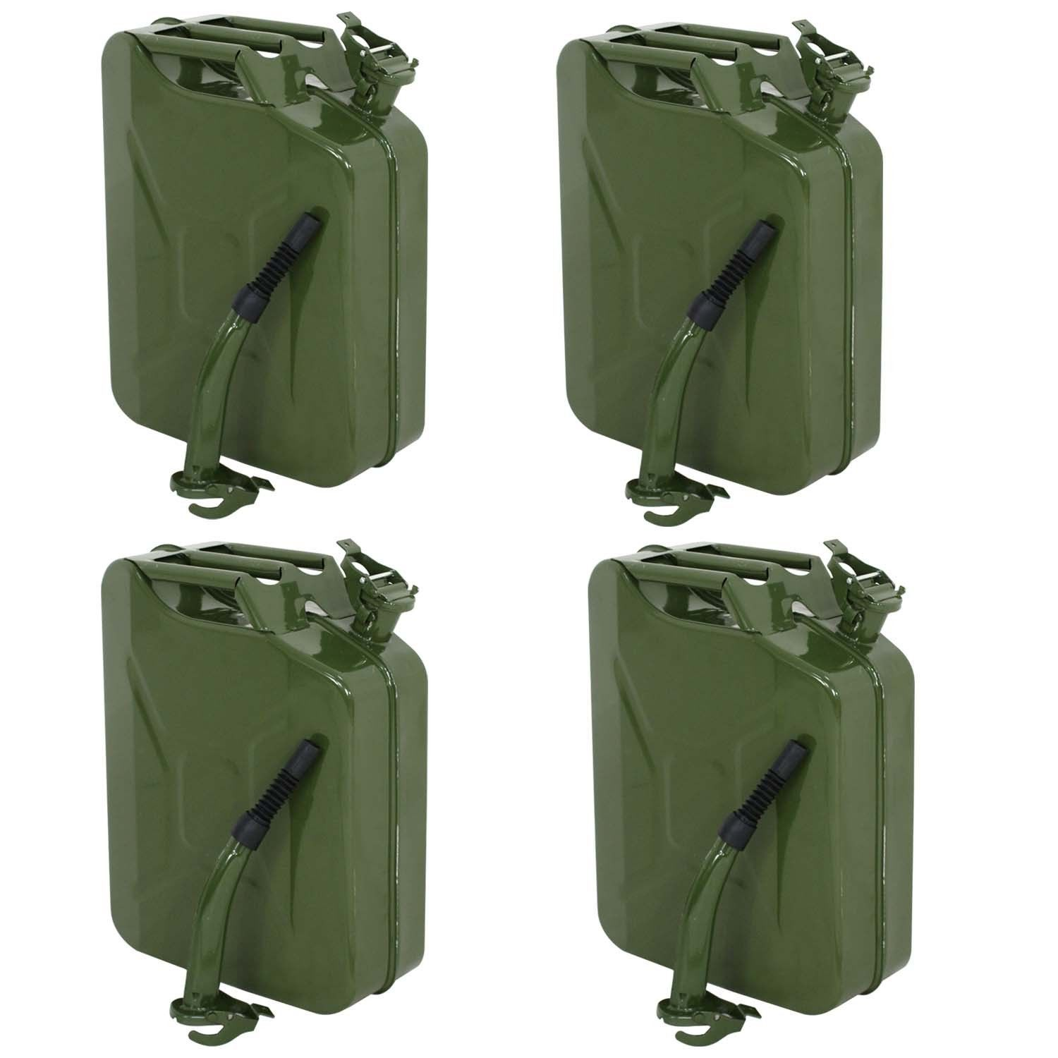 4pc 5 Gallon Military Style Jerry Green Can Fuel Storage Steel Fuel Tank 20l Fuel Storage Tanks Military Jerry Can