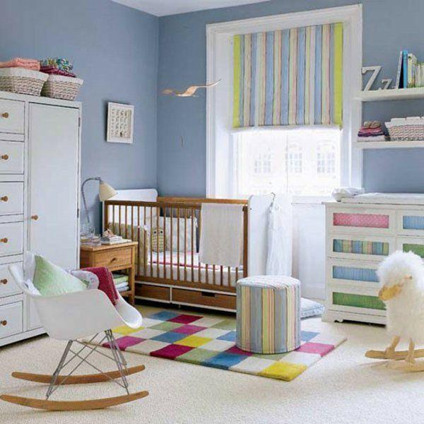Babyzimmer Gestalten Blau Jungen Wand