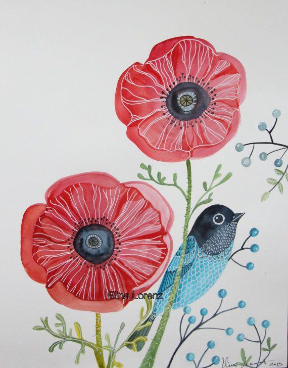 Original Watercolor / Bird Art / Wall Art / Room Decor / Oriental Red Poppies / Flowers / Gift / Nursery Art