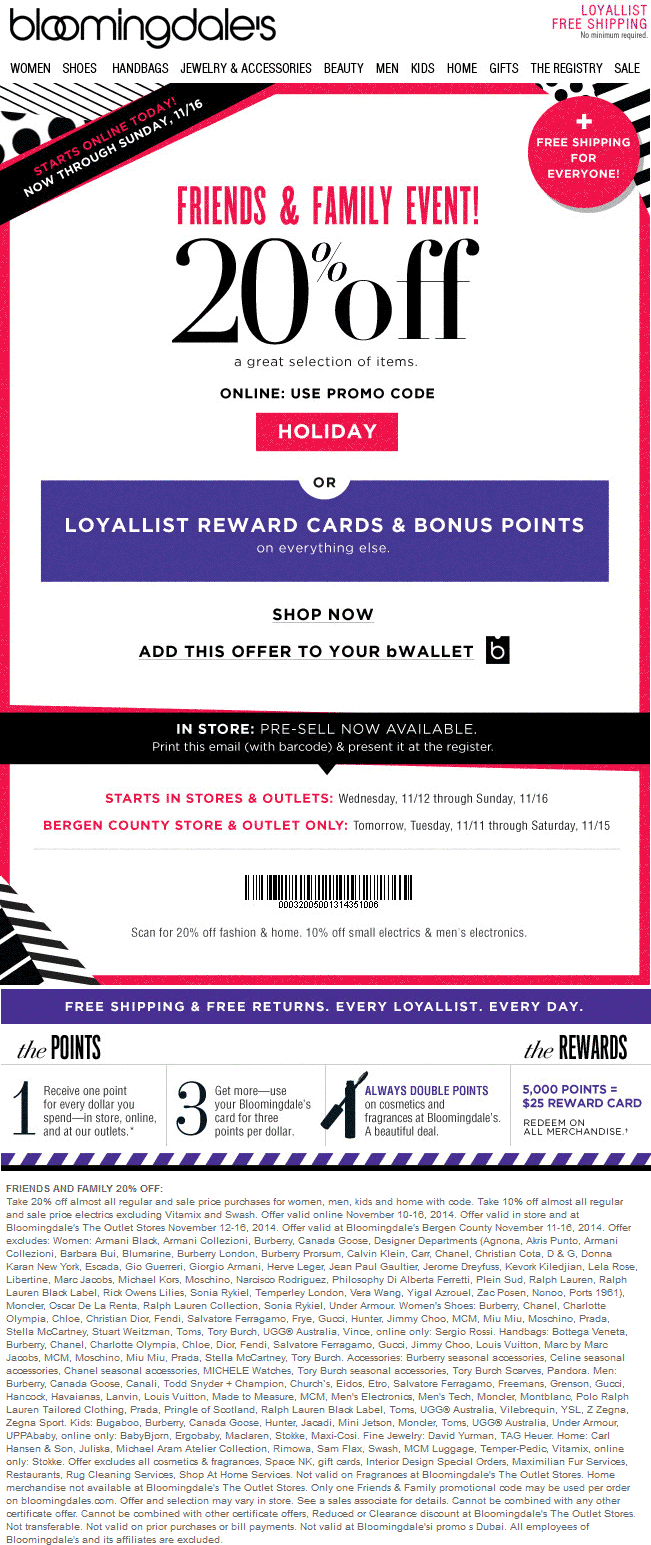 bloomingdales coupon code 20 off