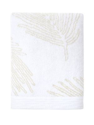 The exotic vegetation of Florida inspires this jacquard design. Lush palms rendered in large-scale cover the material, as would a shady palm grove on this lovely bath towel.