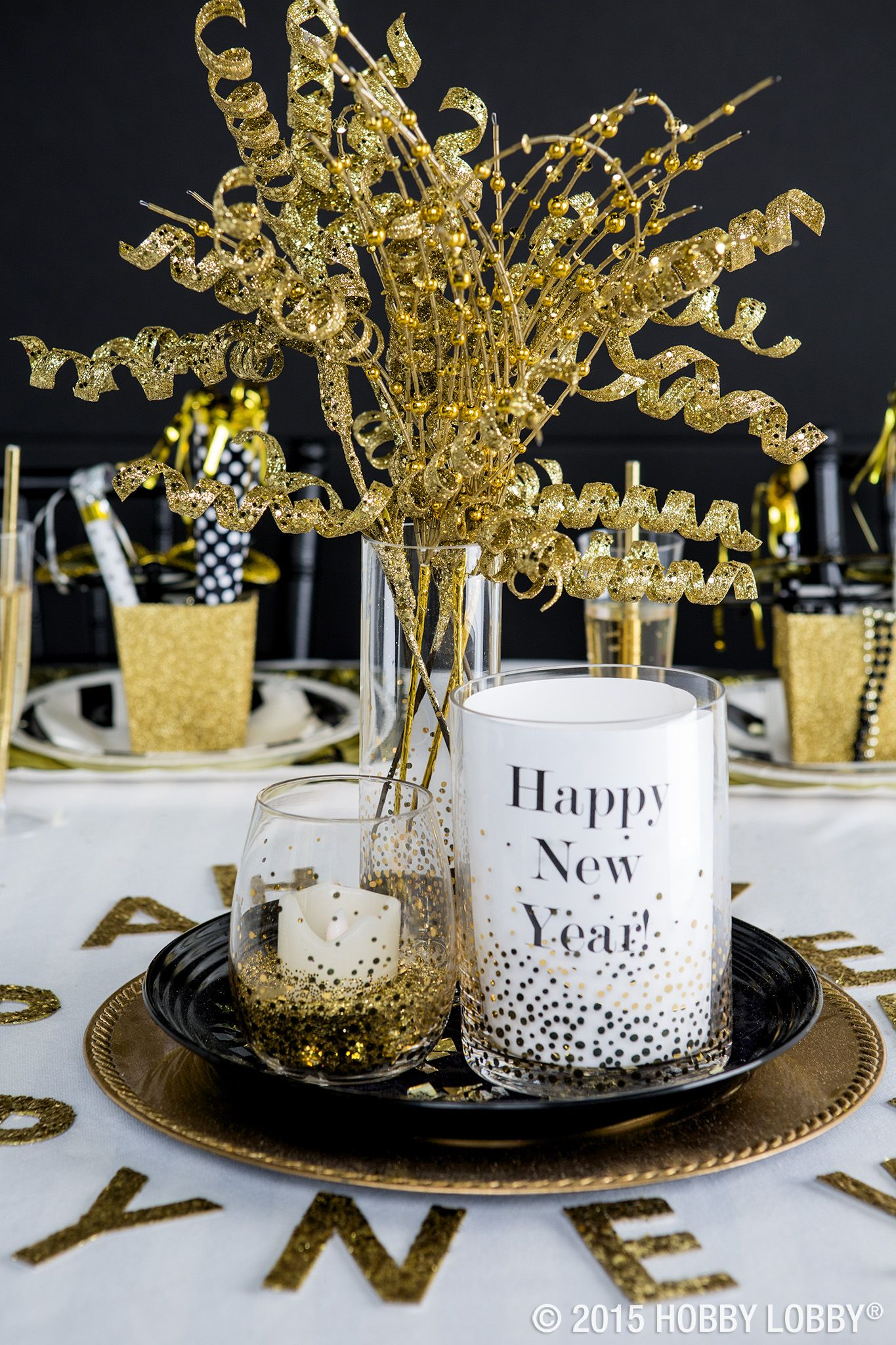 Gold Bead Spray | New years eve decorations, New years eve ...