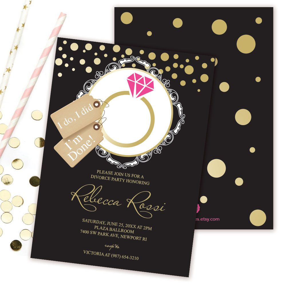 Divorce Party Invitation ~ Black, Hot Pink, Gold, Humorous ...