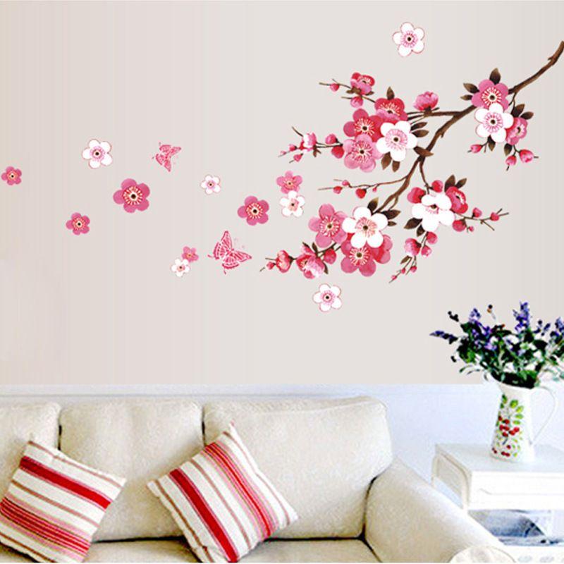 Diy Room Peach Blossom Flower Butterfly Wall Stickers Vinyl Art