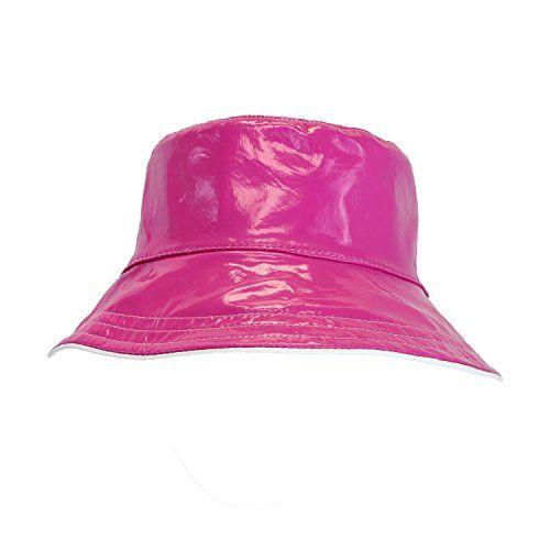 19a9292f4d6 Pink Patent Polka Dot Reversible Waterproof Bucket Rain H... https