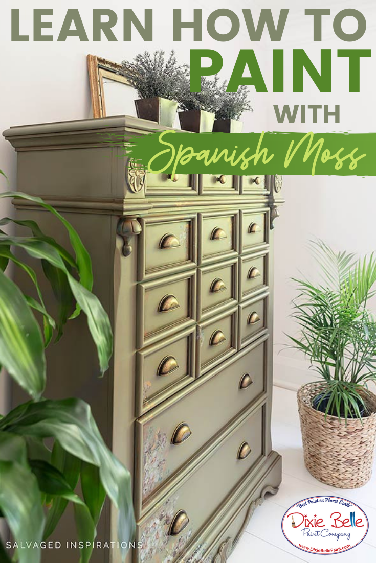 How to Paint with Spanish Moss is part of Dixie belle paint, Green painted furniture, Painting furniture diy, Paint furniture, Furniture painting tips, Paint companies - Hi everyone, Denise from Salvaged Inspirations here! Learn how to layer paint and products to Read More