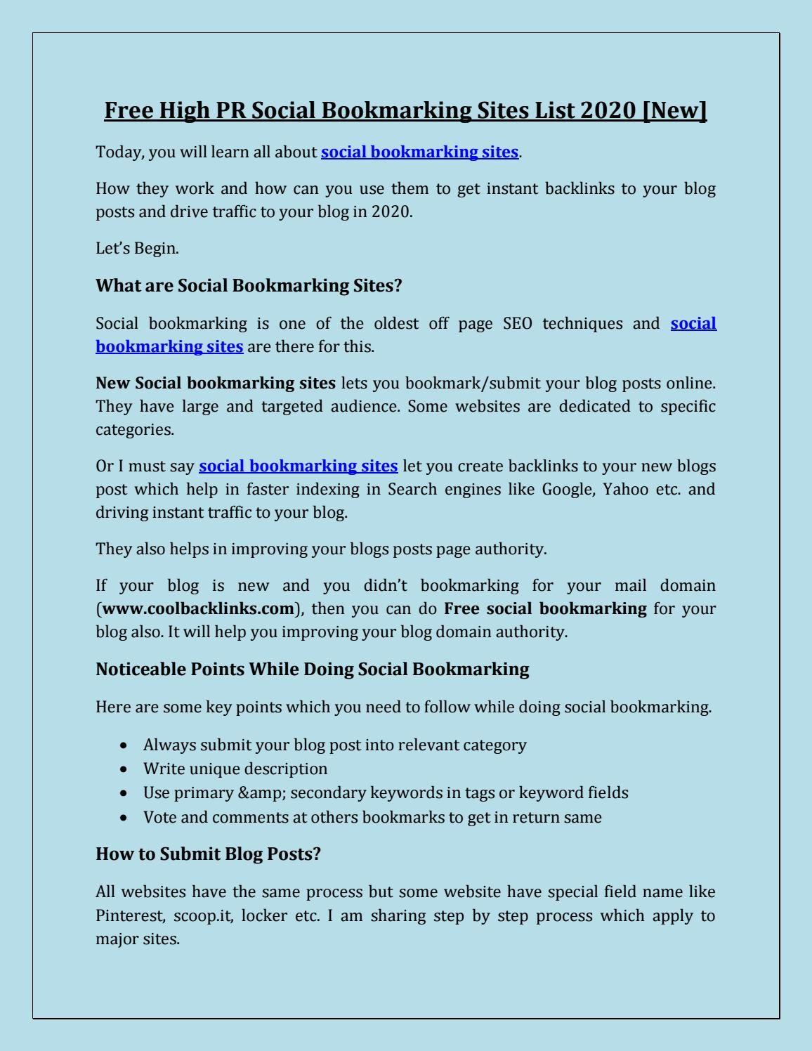 Free High Pr Social Bookmarking Sites List 2020 New Social Bookmarking Bookmarking Sites What Is Social