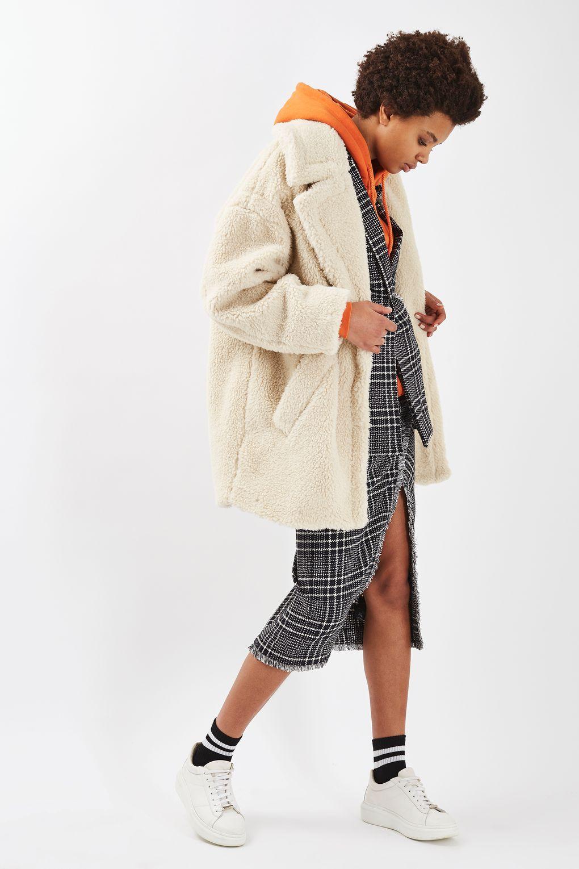 33ebe387ce7 Borg Cocoon Coat - Topshop Topshop Fur Coat