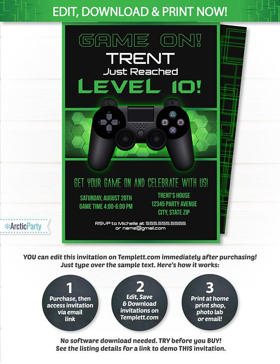 Video Game Party Invitations Video Game Invitation Video Game Birthday Gaming Party Invitation Game Party Instant Access Edit Now Party Invite Template Video Game Party Invitation Video Game Party