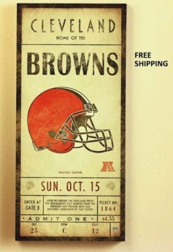 Nfl Cleveland Browns Classic Ticket Wall Art Picture Sign Football ...