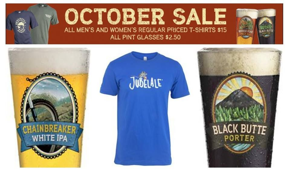 The Holidays have come a bit early this year! All Regular Priced T-shirts and Pint Glasses are on SALE on our webstore for the month of October! They are the perfect gifts for you or the craft beer lovers in your life...http://store.deschutesbrewery.com/