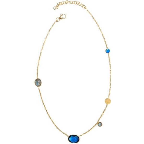 Juvi  - Antibes Necklace with Iolite & Labradorite ($160) ❤ liked on Polyvore featuring jewelry, necklaces, circle necklace, sparkle jewelry, short necklaces, summer necklace and multi colored necklace