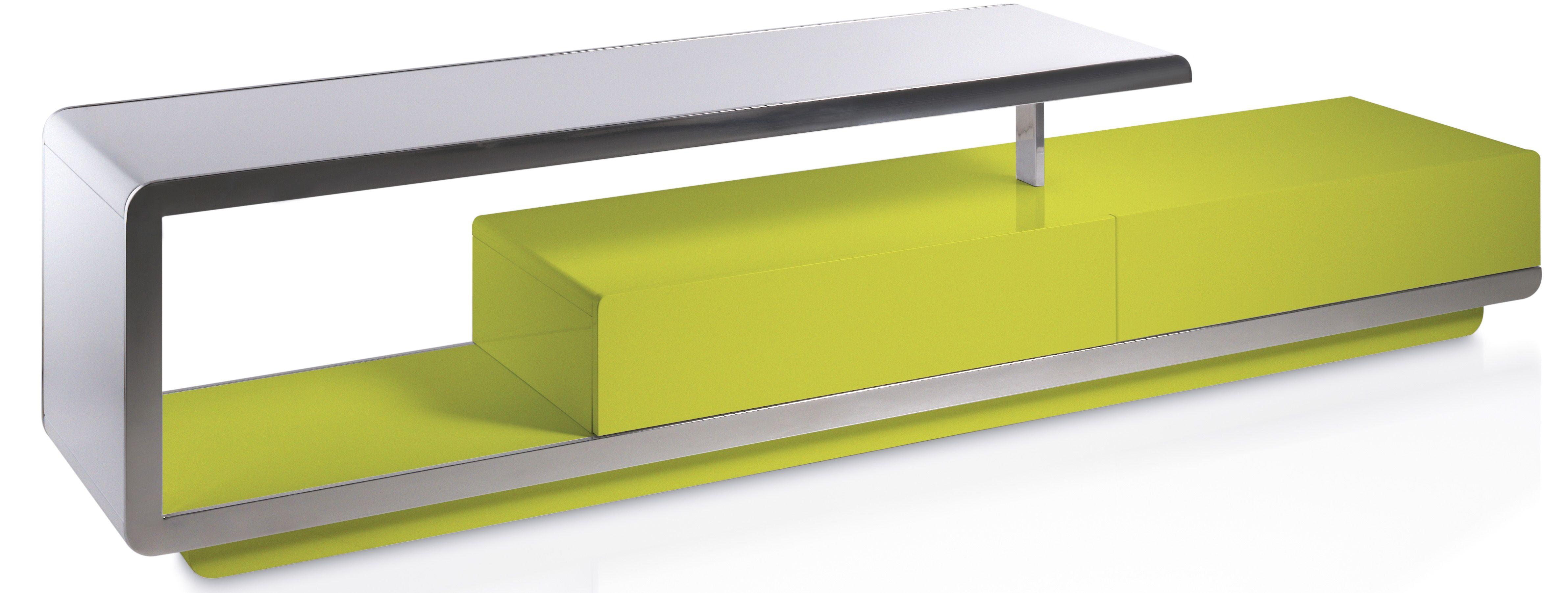 Designer Meuble Tv Design 2 Tiroirs Bois Laque Jaune Et Acier Chrome Modena Lestendances Fr Meuble Tv Design Meuble Tv Meuble