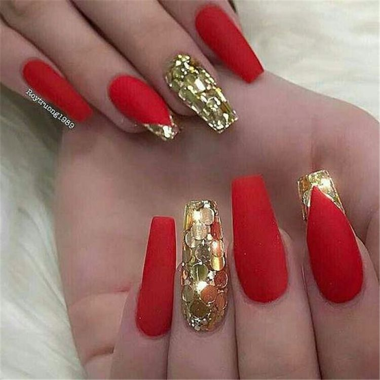 Gorgeous Red Nail Art Designs For Stylish Women Red Nails Coffin Nails Nails Acrylic Nails Gorgeous Red Nail In 2020 Red And Gold Nails Gorgeous Nails Glam Nails