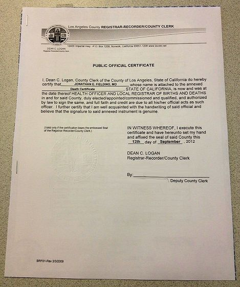 Angeles County Exemplification Authentication For Death Certificate