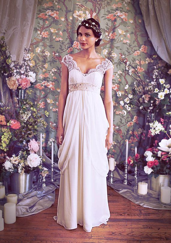 1fe3e6a67c7b3 French Lace Cap Sleeve Empire Waist Sweetheart Neckline Wedding gown,Illusion  Neckline, Layered Chiffon Skirt, The