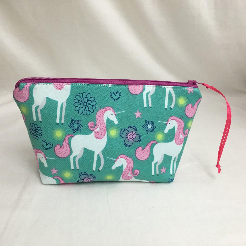Unicorn White on Aqua Zipper Gadget Bag, Cosmetic Pouch