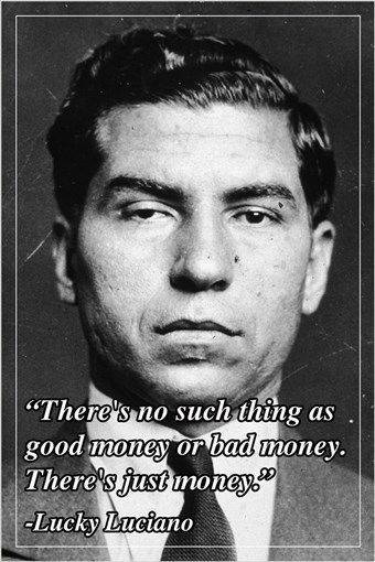 motivational quote poster LUCKY LUCIANO american mobster