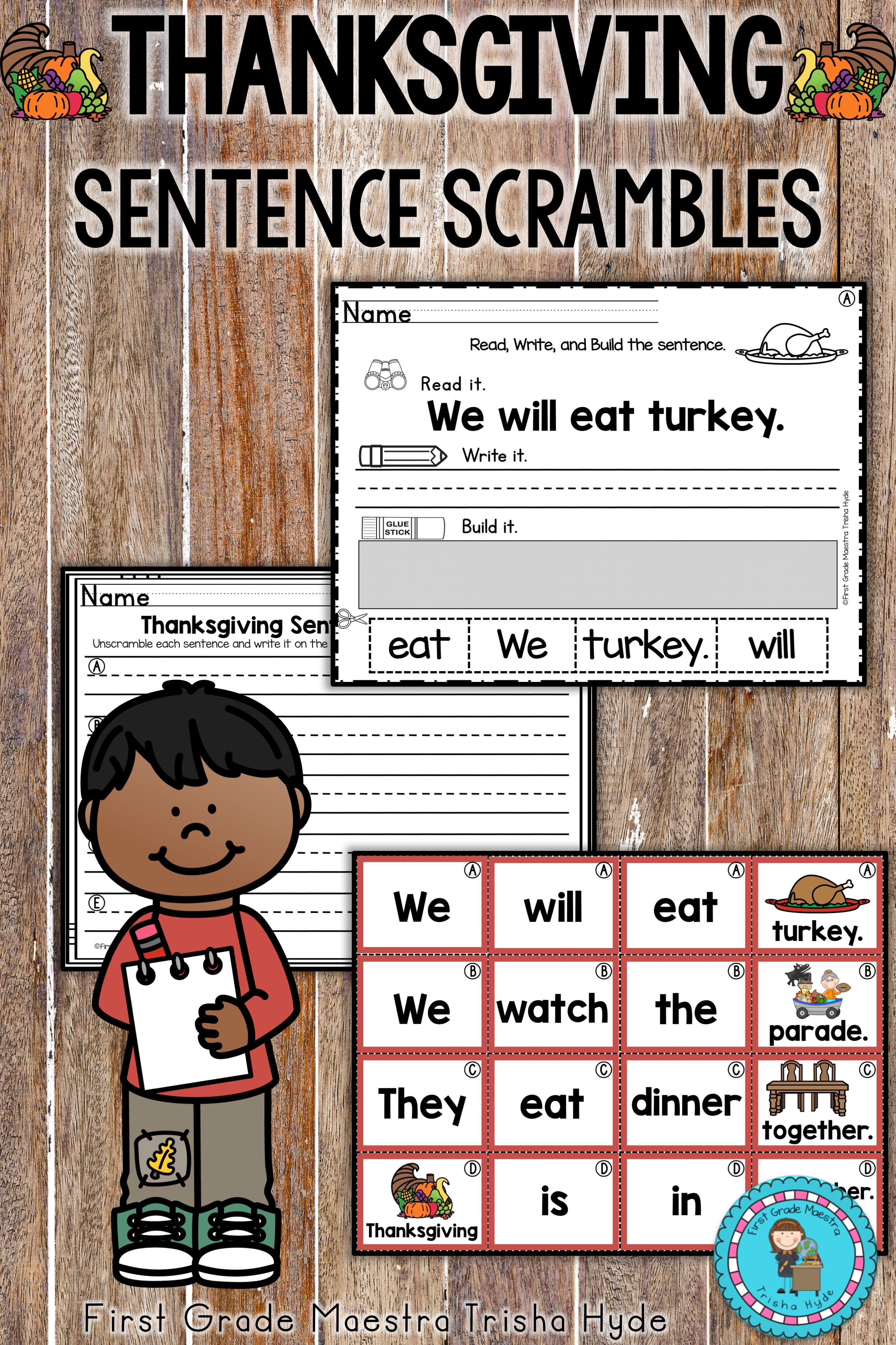 Thanksgiving Sentence Scrambles With Images