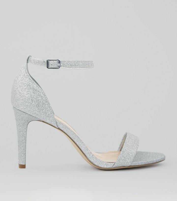 a2b3d68867bdcd Wide Fit Silver Glitter Ankle Strap Heels
