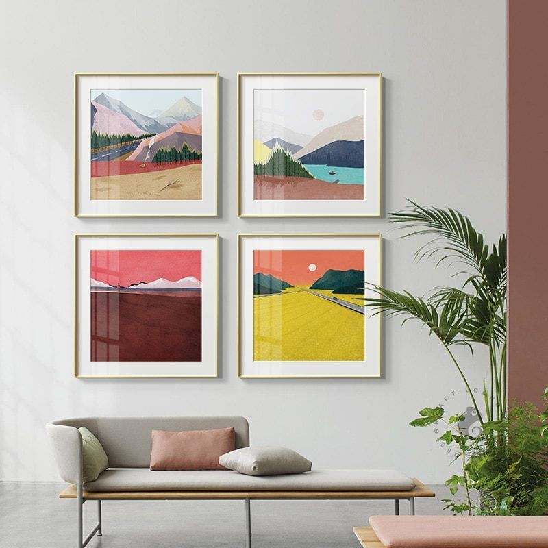 Abstract Colorful Mountains Color Block Canvas Painting Posters Print Modern Wall Art Pictures For Living Room Bedroom Aisle Wall Art Pictures Room Wall Art Abstract Wall Art #wall #posters #for #living #room