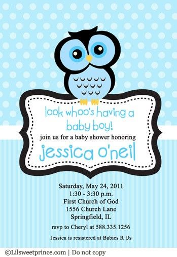 Owl baby shower invitation blue for a boy Parties Showers n