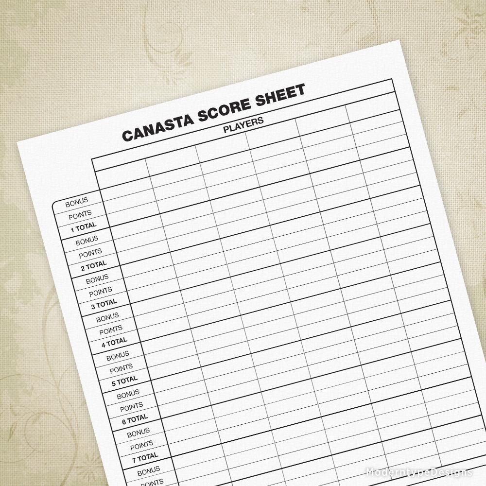 Canasta Score Sheet Printable Form Sheet, Organization