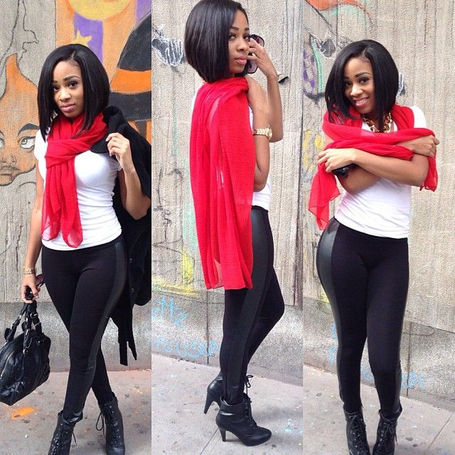 Red Scarf White Tshirt Leather Leggings Ankle Boots